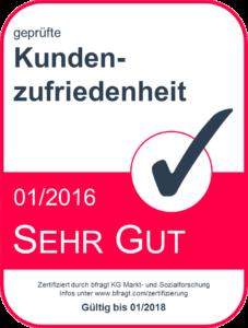 """Zertifikat """"geprüfte Kundenzufriedenheit"""" von bfragt.com"""
